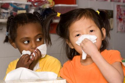 Children blow their noses