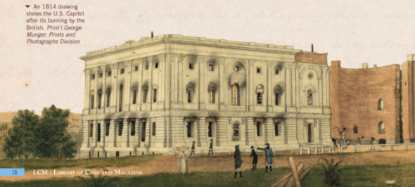 An 1814 drawing shows the U.S. Capitol after its burning by the British