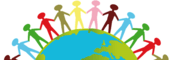Multi-colored stick people holding hands around a world globe.