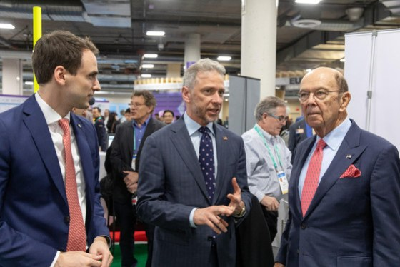 Secretary Ross, Director Iancu, and Chief Technology Officer Kratsios visit the government booth at CES