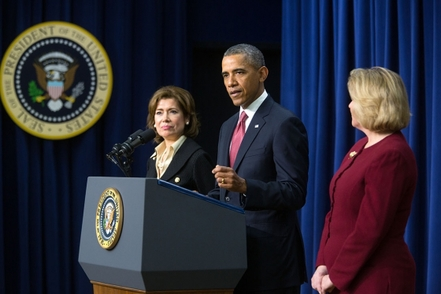 (Right to Left) SBA Administrator Nominee Maria Contreras-Sweet, President Barack Obama and Acting SBA Administrator Jeanne Hulit