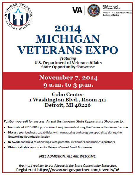 2014 Michigan Veterans Expo Flyer