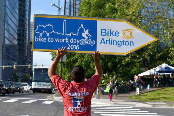 bike to work day directional sign