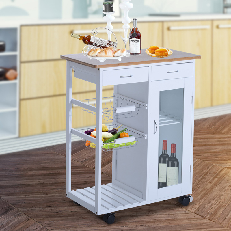 portable kitchen storage table islands carts hayneedle rolling trolley serving cart with glass door cabinet