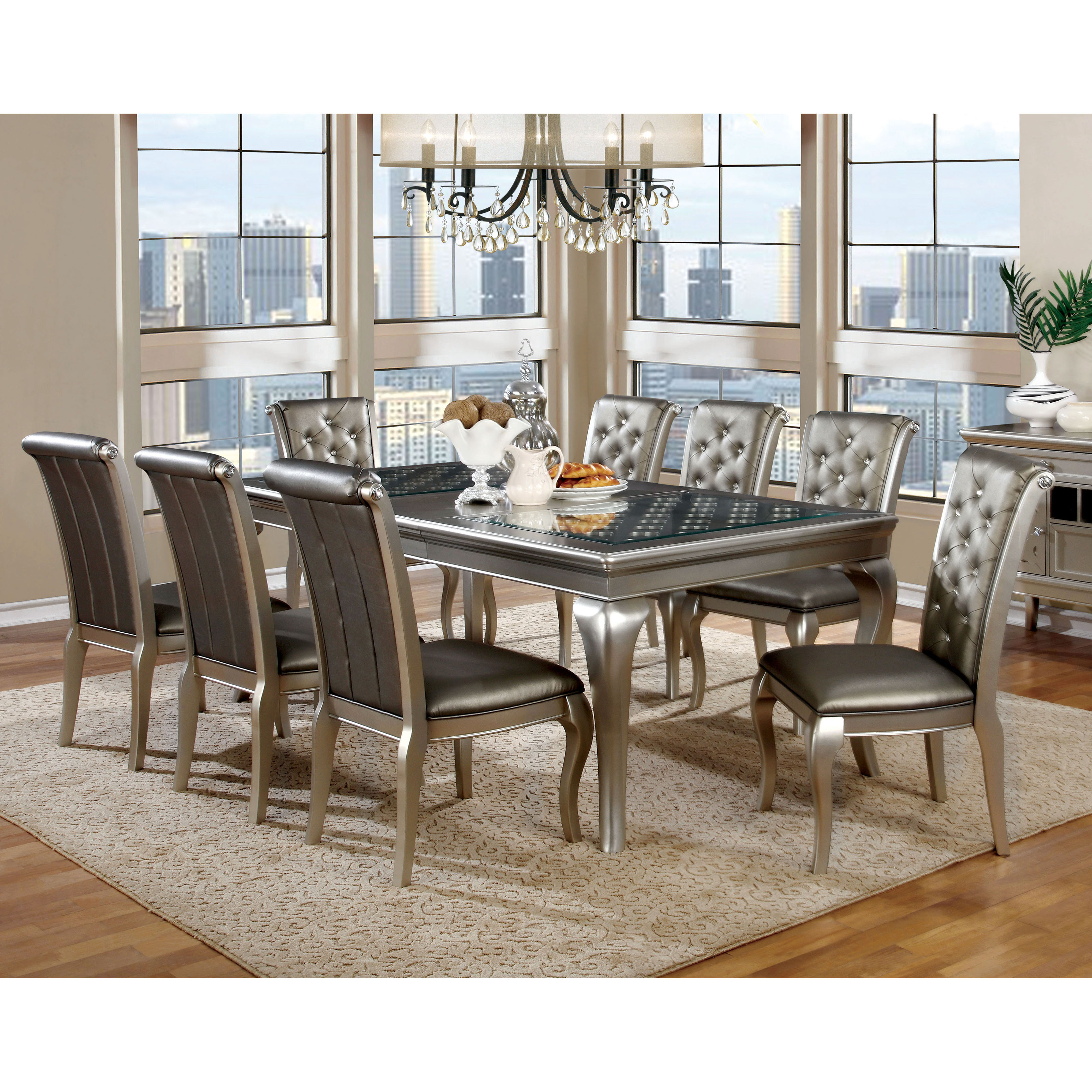 kitchen table sets cabinet makeover kit formal dining hayneedle furniture of america sylera 9 piece set