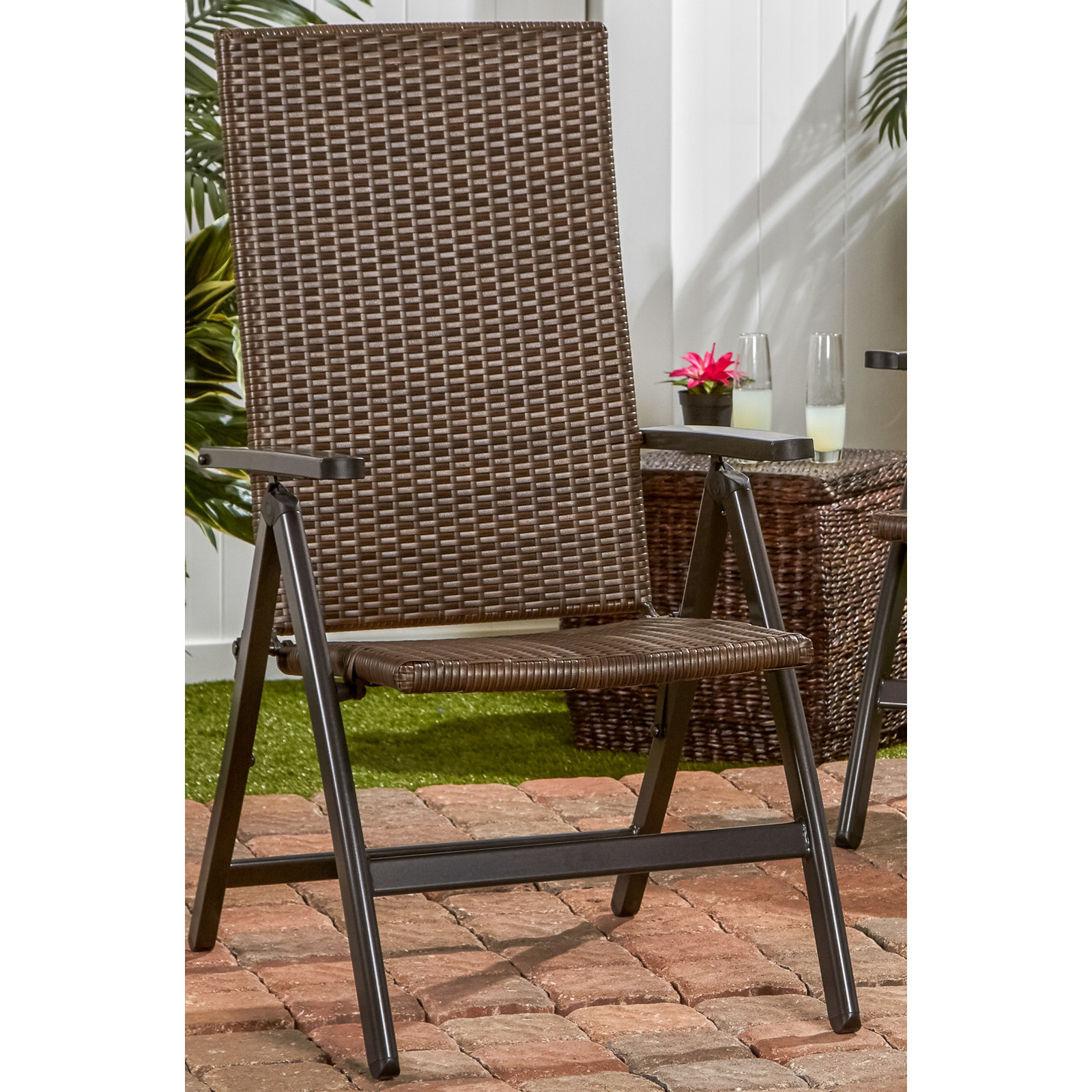 Woven Lawn Chair Greendale Home Fashions Woven Outdoor Wicker Reclining Lawn Chair