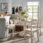 Humblenest Famers Market 5 Piece Breakfast Nook Round Distressed Dining Set Antique White Hayneedle