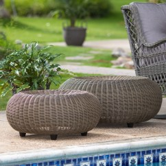 Outdoor Chair And Ottoman Cheap Lift Chairs Ottomans Poufs Hayneedle Belham Living Carlena All Weather Wicker Round