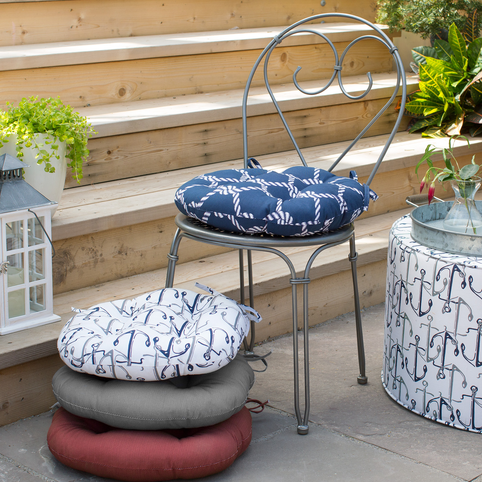 16 round bistro chair cushions your covers inc hayneedle coral coast nautical in seat outdoor cushion
