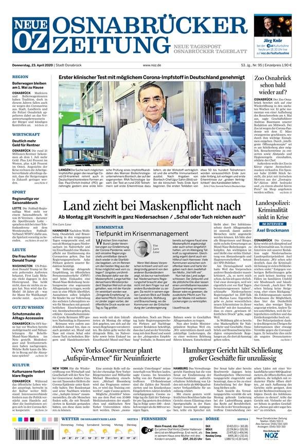 Neue Osnabrücker Zeitung - Stadt vom 23.04.2020 – als ePaper im iKiosk lesen