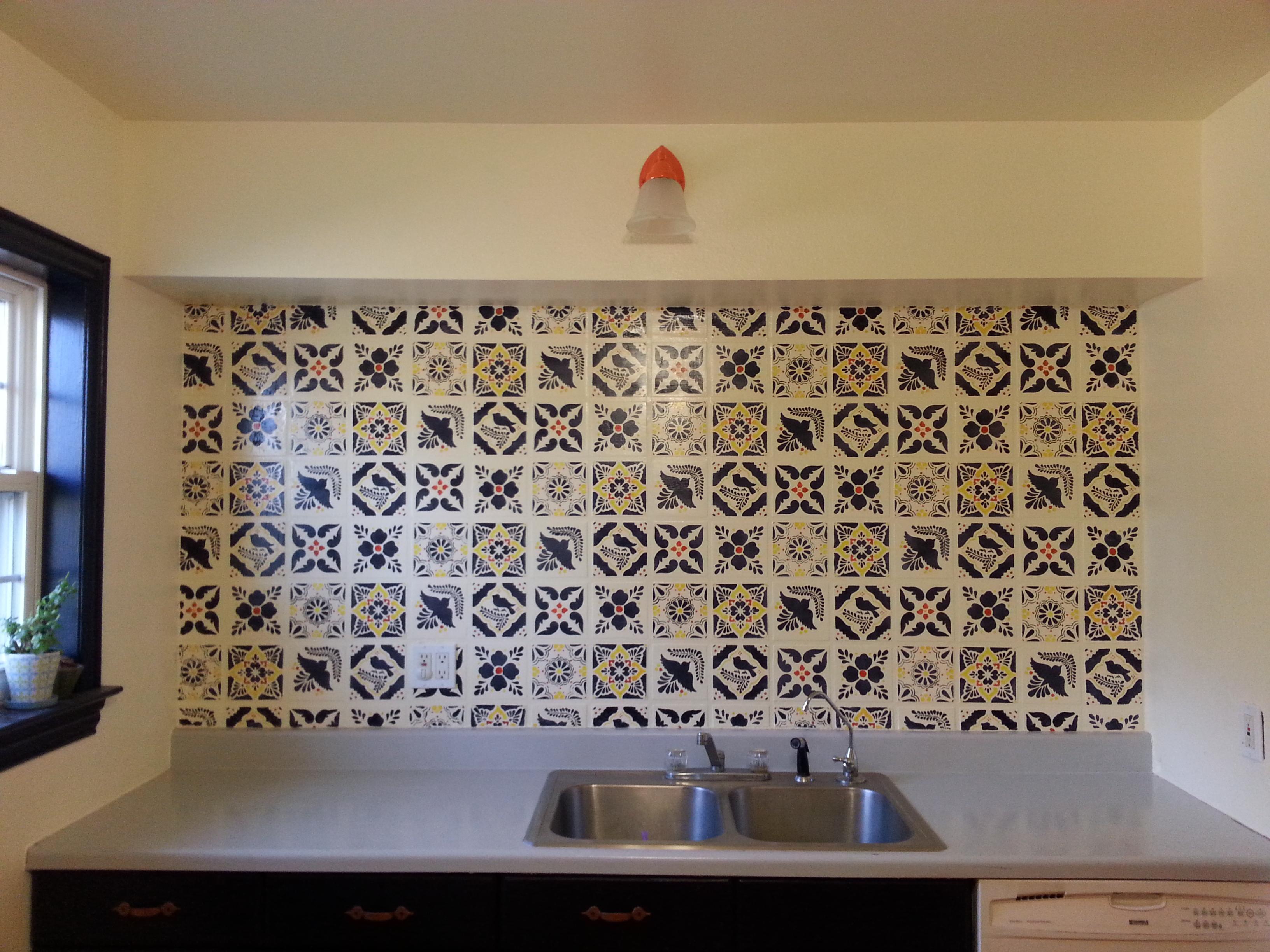 faux talavera tile backsplash 6 steps