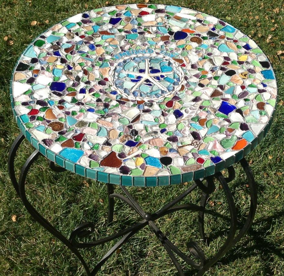 sea glass mosaic tabletop 10 steps