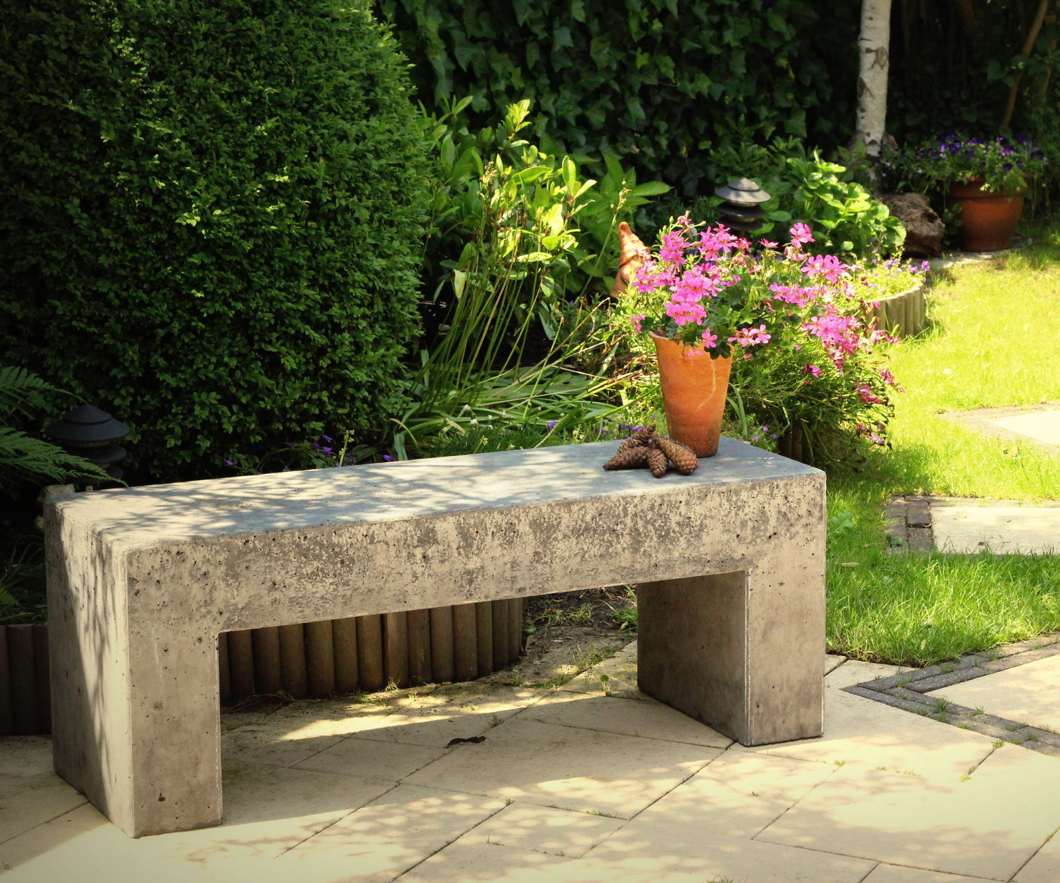 concrete garden bench 9 steps with