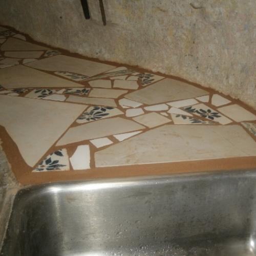 broken tile mosaic counter 4 steps