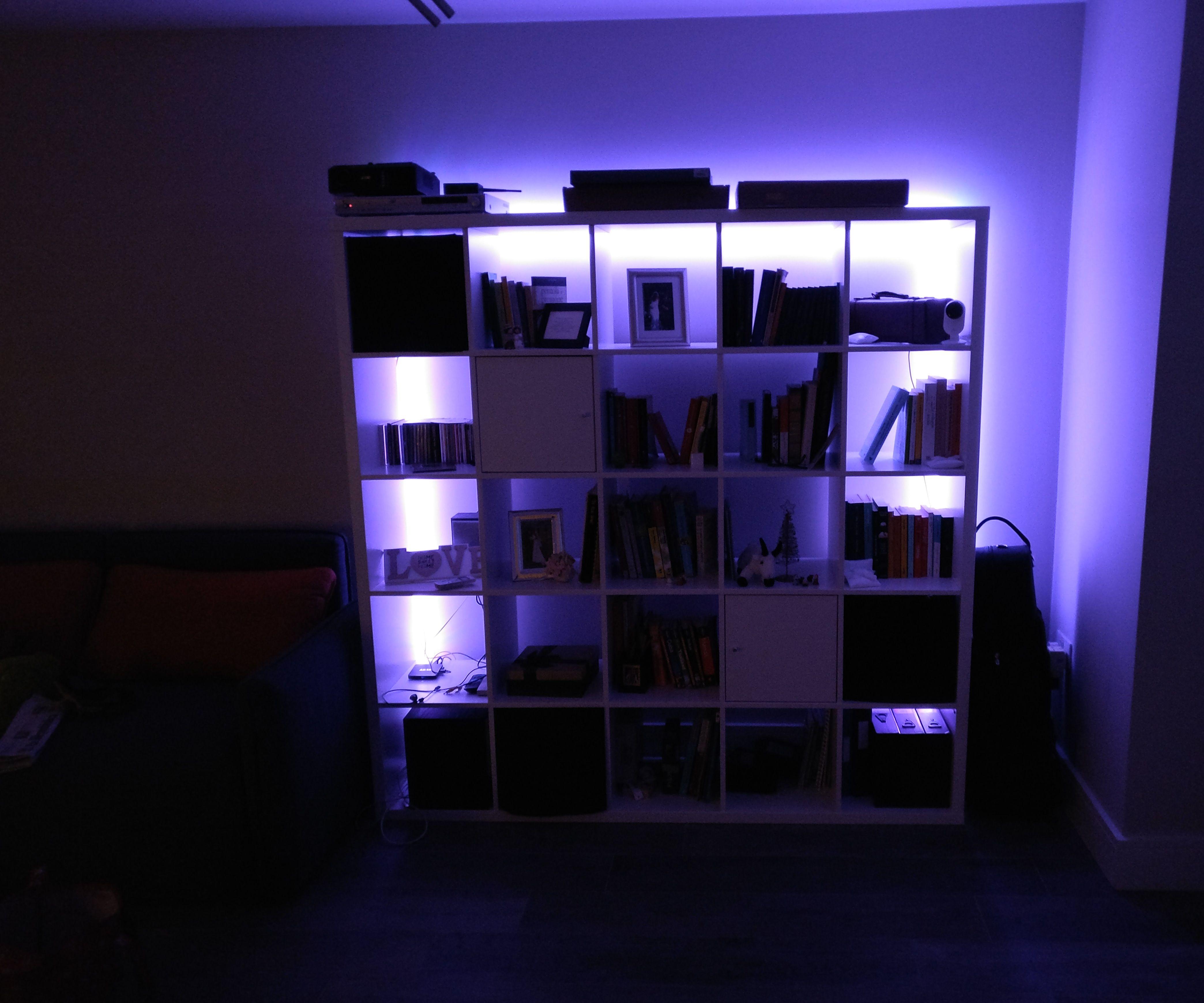 glowing ikea bookshelf 3 steps with