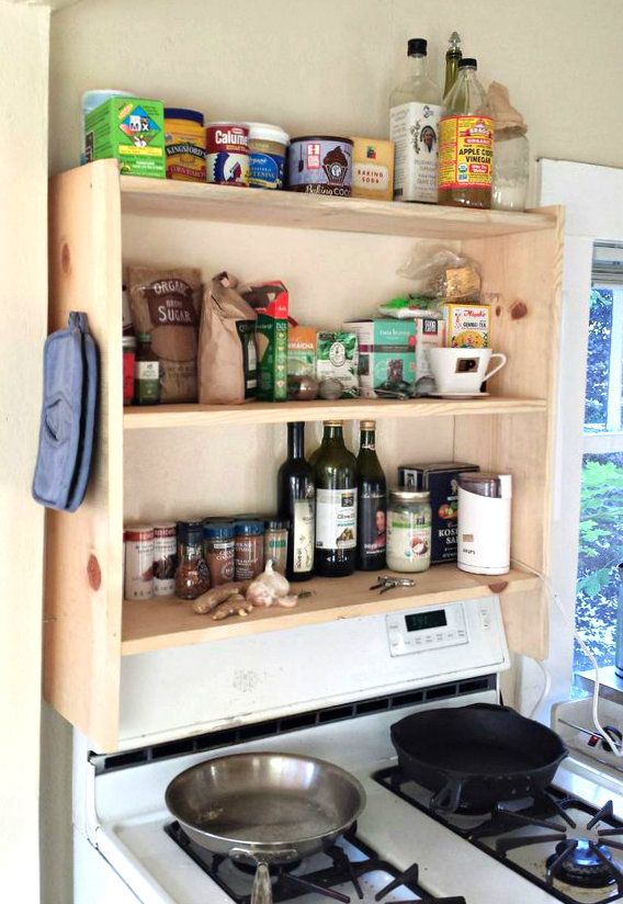 diy above stove shelf 4 steps with
