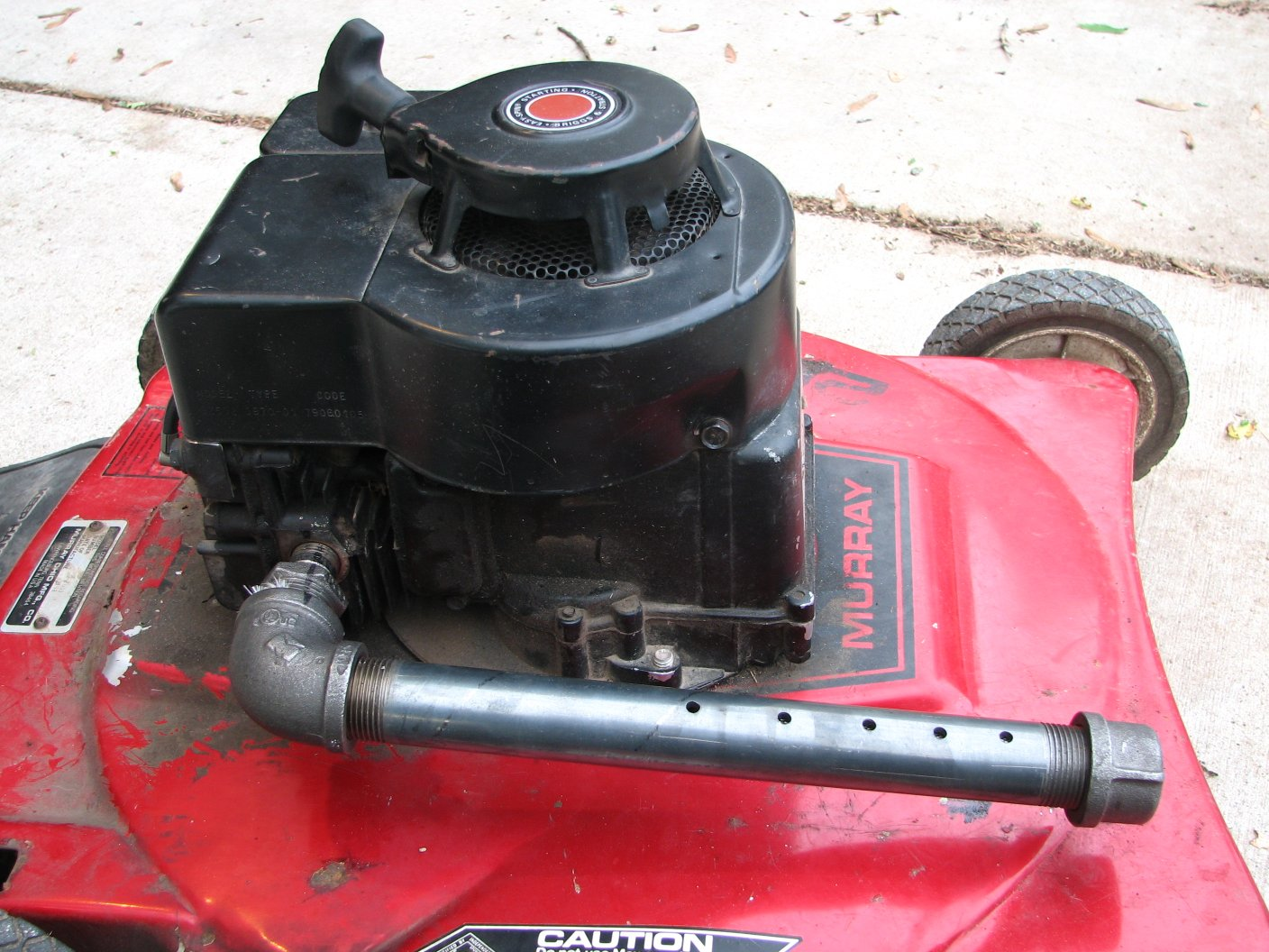 homemade exhaust for your old lawnmower