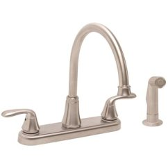 Two Handle Kitchen Faucet Corner Top Cabinet Premier Part 3577629 Waterfront 2 Standard With Side Spray In Brushed Nickel
