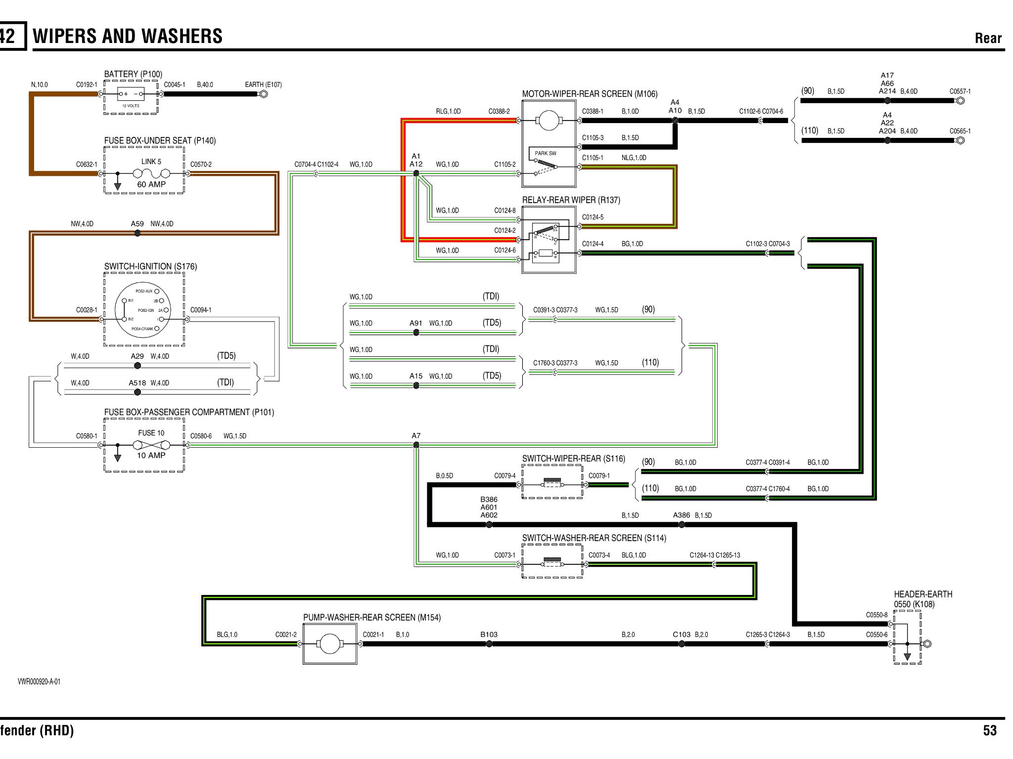 rear wiper motor wiring diagram 3 way dimmer switch multiple lights td5 help please defender forum lr4x4 the