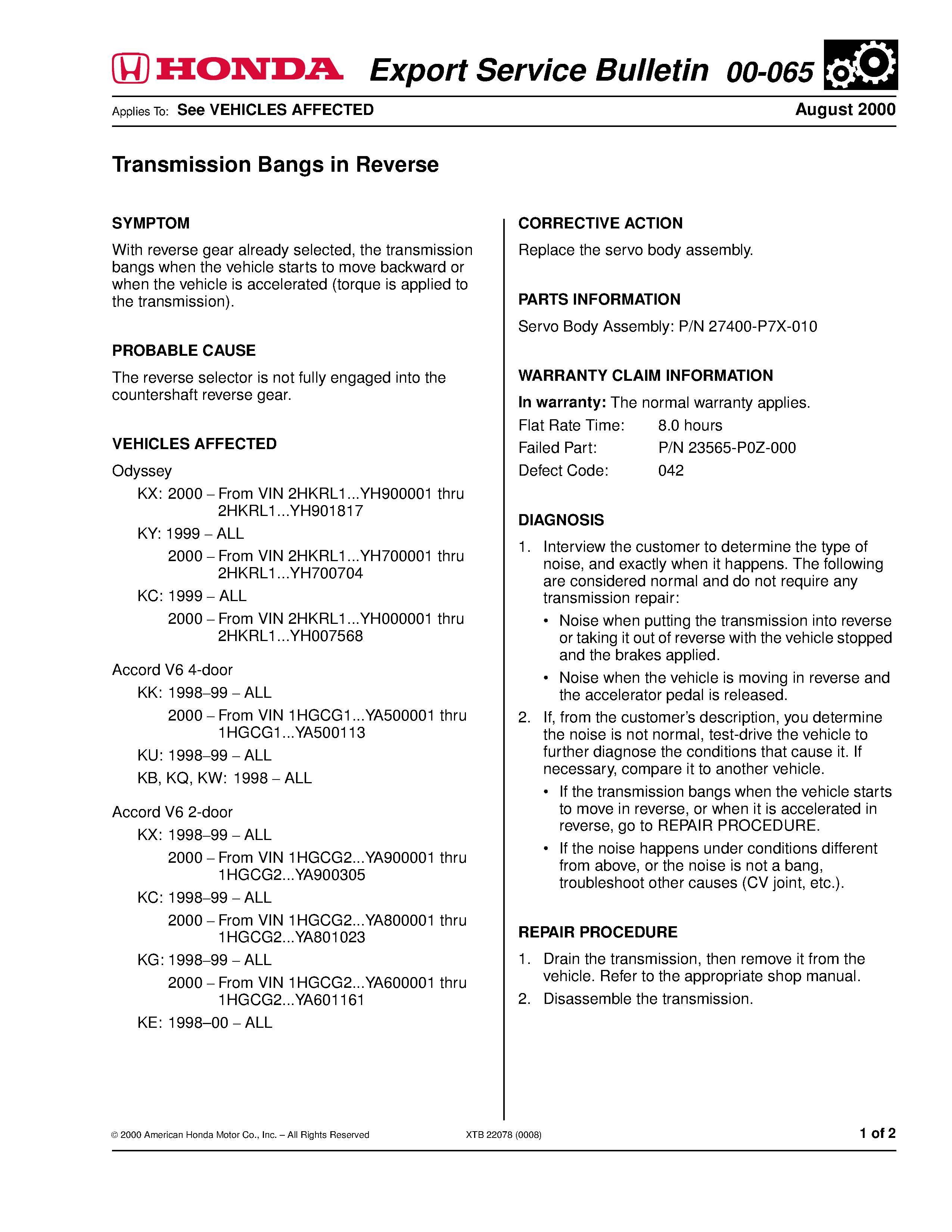 1999 2001 Accord Manual Service
