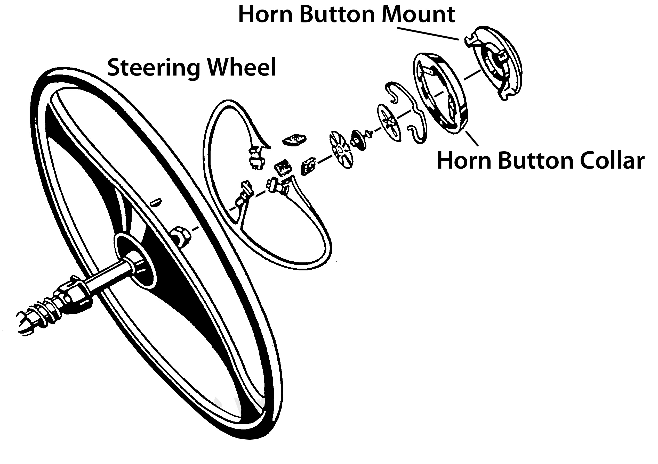What holds horn button in on 41 LC steering wheel