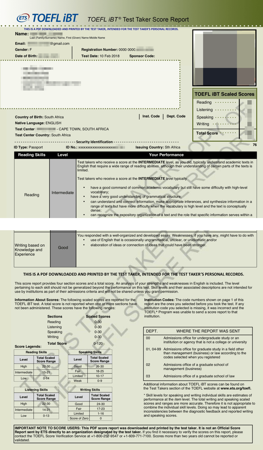TOEFL Test Results - Will it be accepted - General Discussion on Immigration - SAAustralia Forums