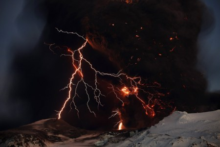 Freezing the volcano's lightning