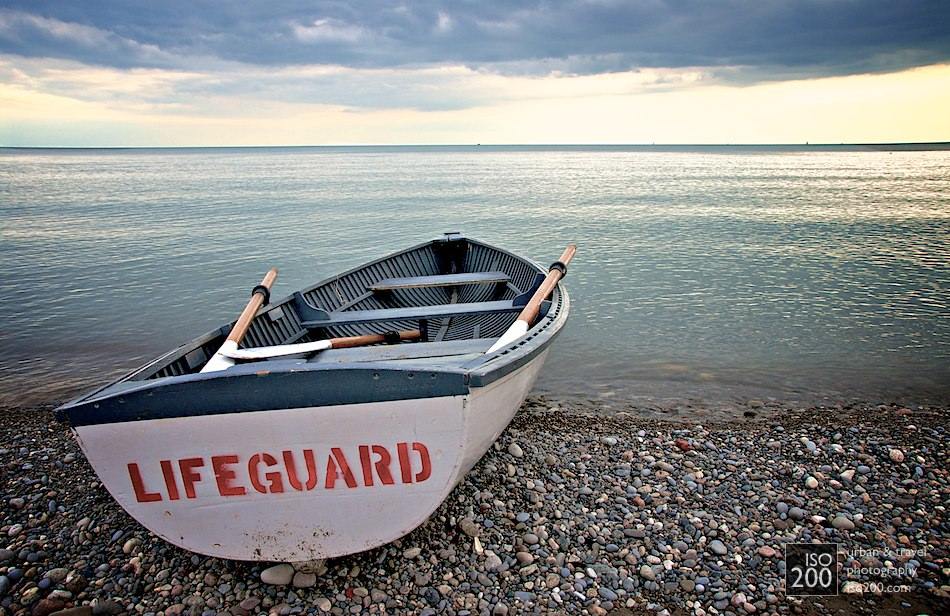 Lifeguard boat on the beach facing towards Lake Ontario at the Beaches, Toronto, Canada