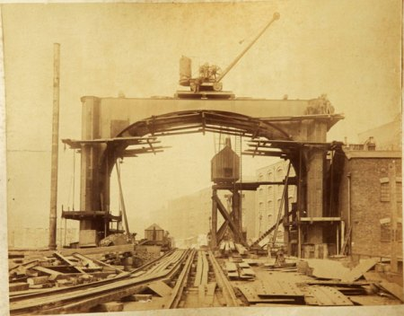 Photographs of London's Tower Bridge being built