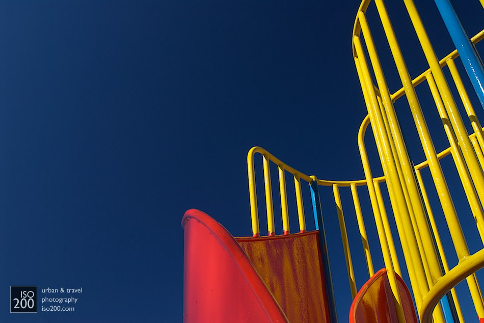 Climbing frame/helter-skelter in Morningside Play Park, Edinburgh.