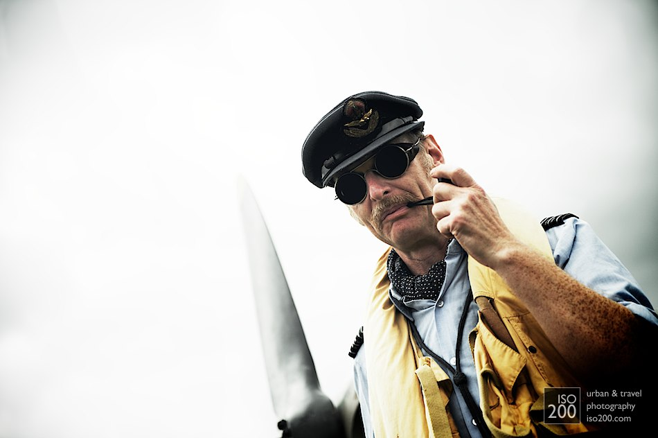 Photo of an old-style RAF pilot with moustache and pipe, 2010 National Museum of Scotland airshow at the Museum of Flight, East Fortune, East Lothian, Scotland.