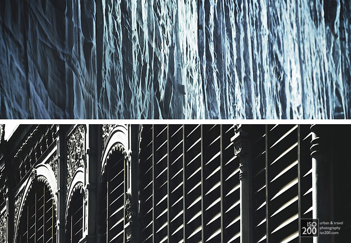 Diptych of street photos from Malaga, showing a facade covered in blue netting contrasted with the cast iron facade of the Ataranzas, Malaga's famous central market.