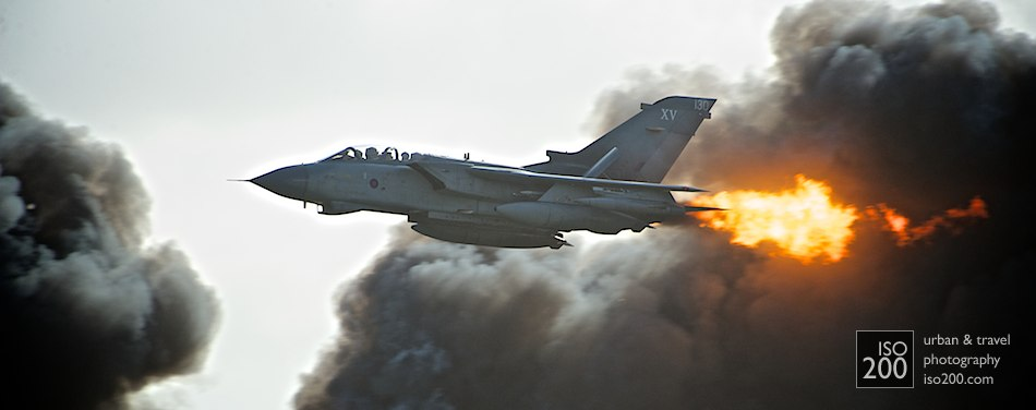 Tornado GR4 in the midst of a ground-attack demonstration, Leuchars Diamond Jubilee Airshow 2012.