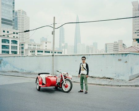 Aurelien Chauvaud photographs Chinese sidecar motorcyle riders.
