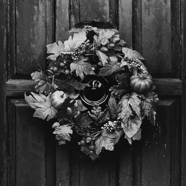 Black and white halloween door wreath.