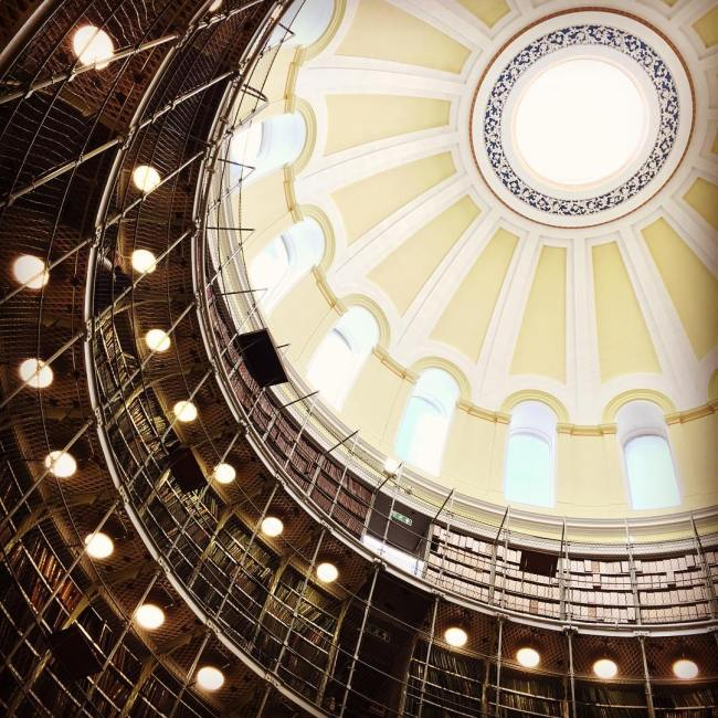 Inside view of the dome of the National Records of Scotland, Edinburgh.