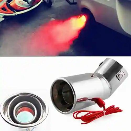 rishil world universal stainless steel car led exhaust muffler tip pipe red light flaming tail muffler 30 63mm