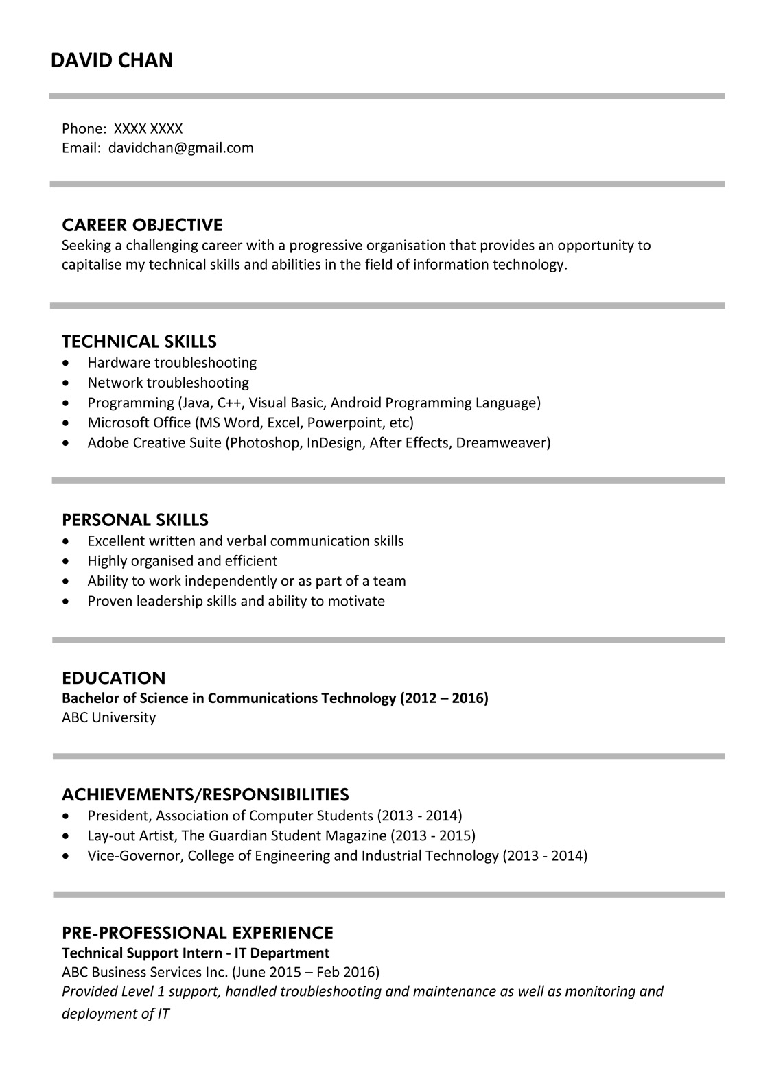 Technical Resume Tips Sample Resume For Fresh Graduates It Professional Jobsdb Hong Kong