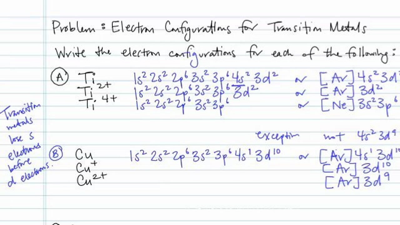 hight resolution of electron configurations for transition metals and their ions problem concept chemistry video by brightstorm