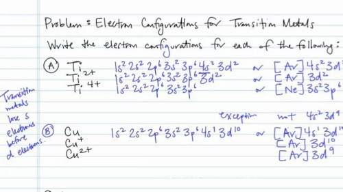 small resolution of electron configurations for transition metals and their ions problem concept chemistry video by brightstorm