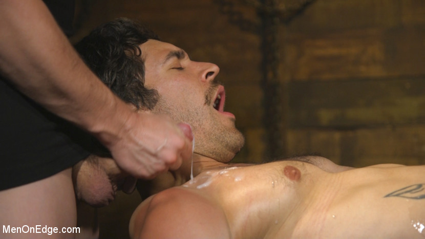 Hot leather stud with a fat cock gets edged - tickling
