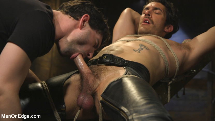 Hot leather stud with a fat cock gets edged - gay