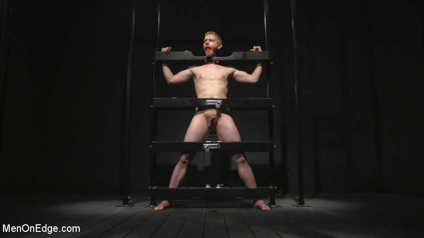Uncut Stud Edged Beyond His Limit in Stocks - dildo