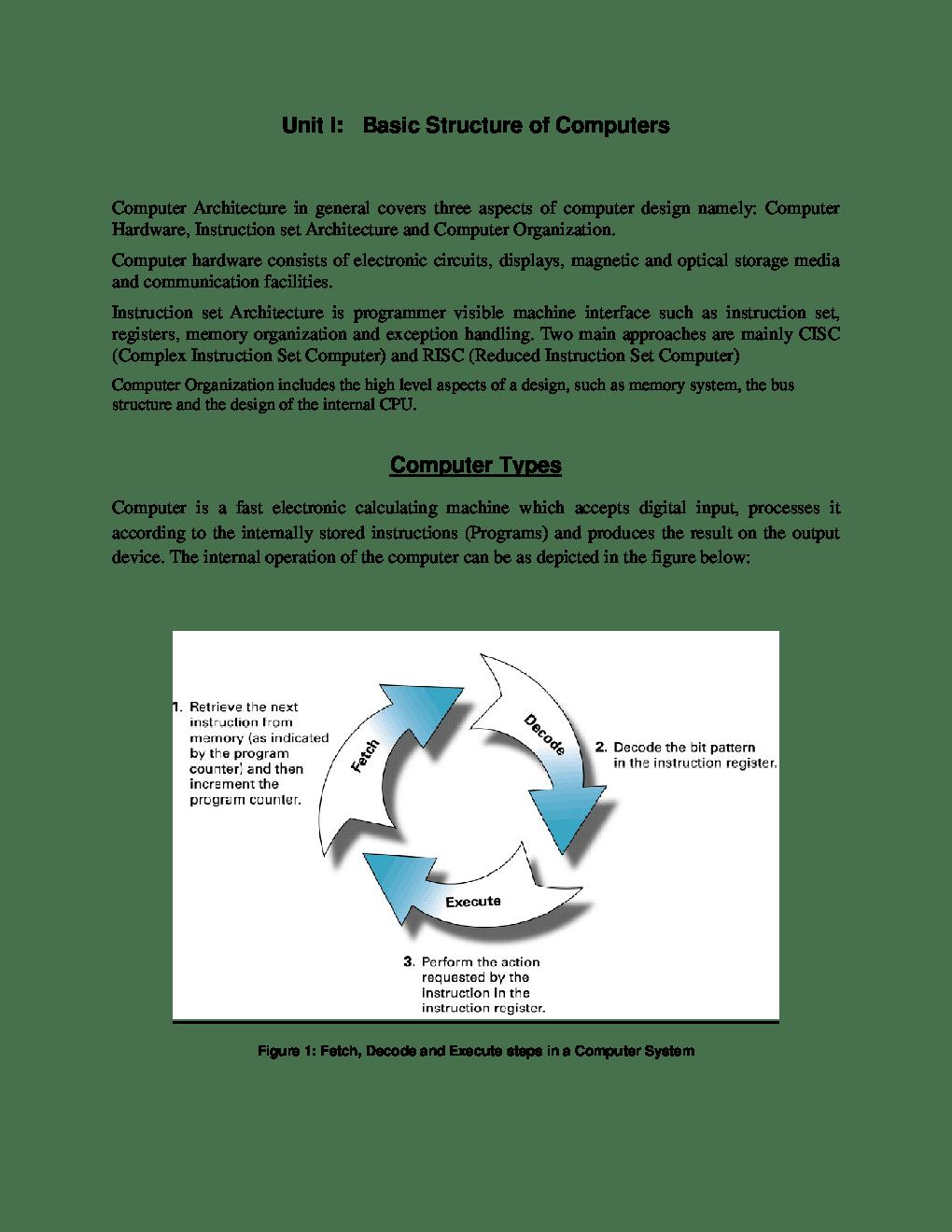 Download VTU eNotes On Computer Organisation (Computer