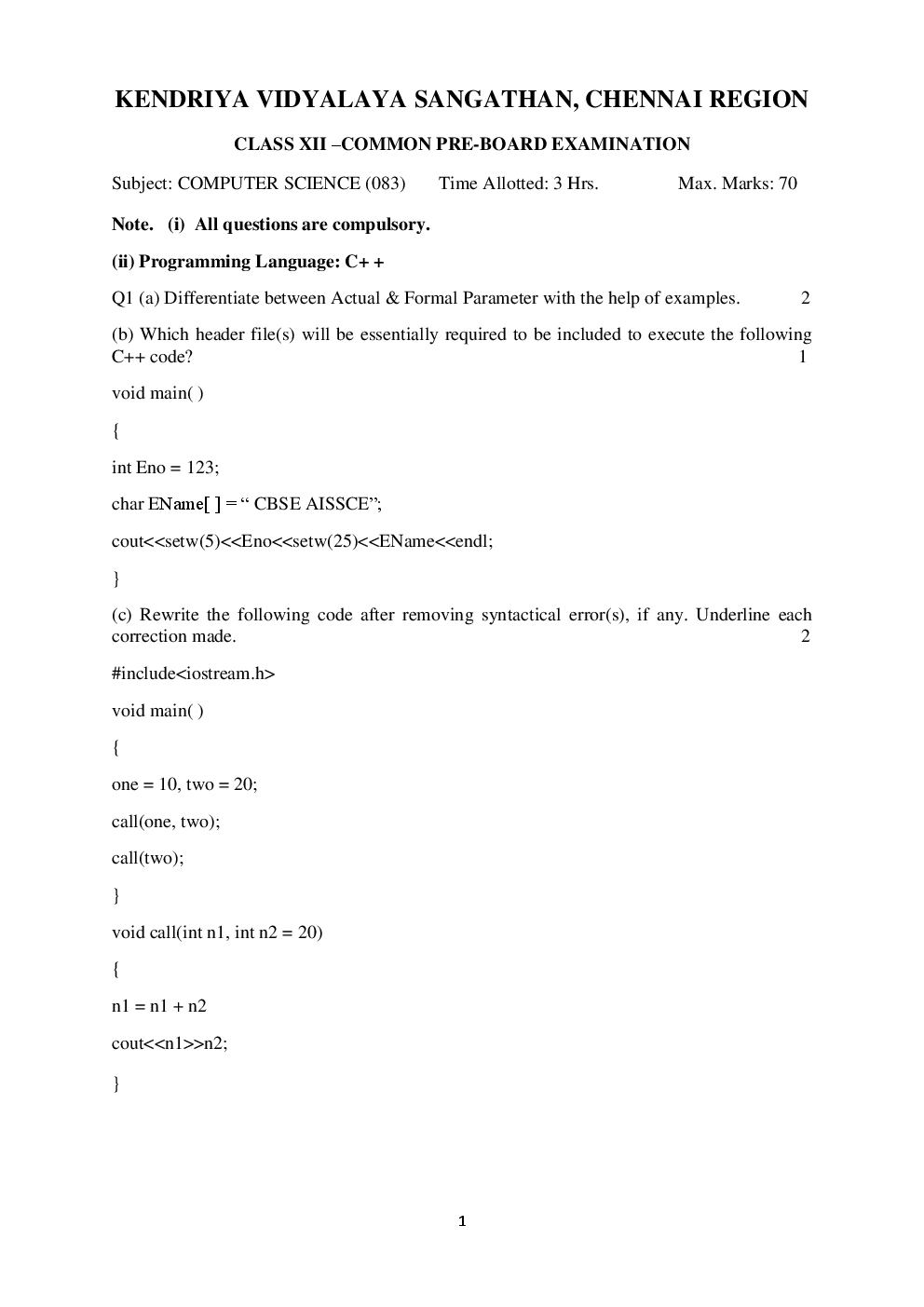 Download CBSE Sample Question Papers Computer Science With