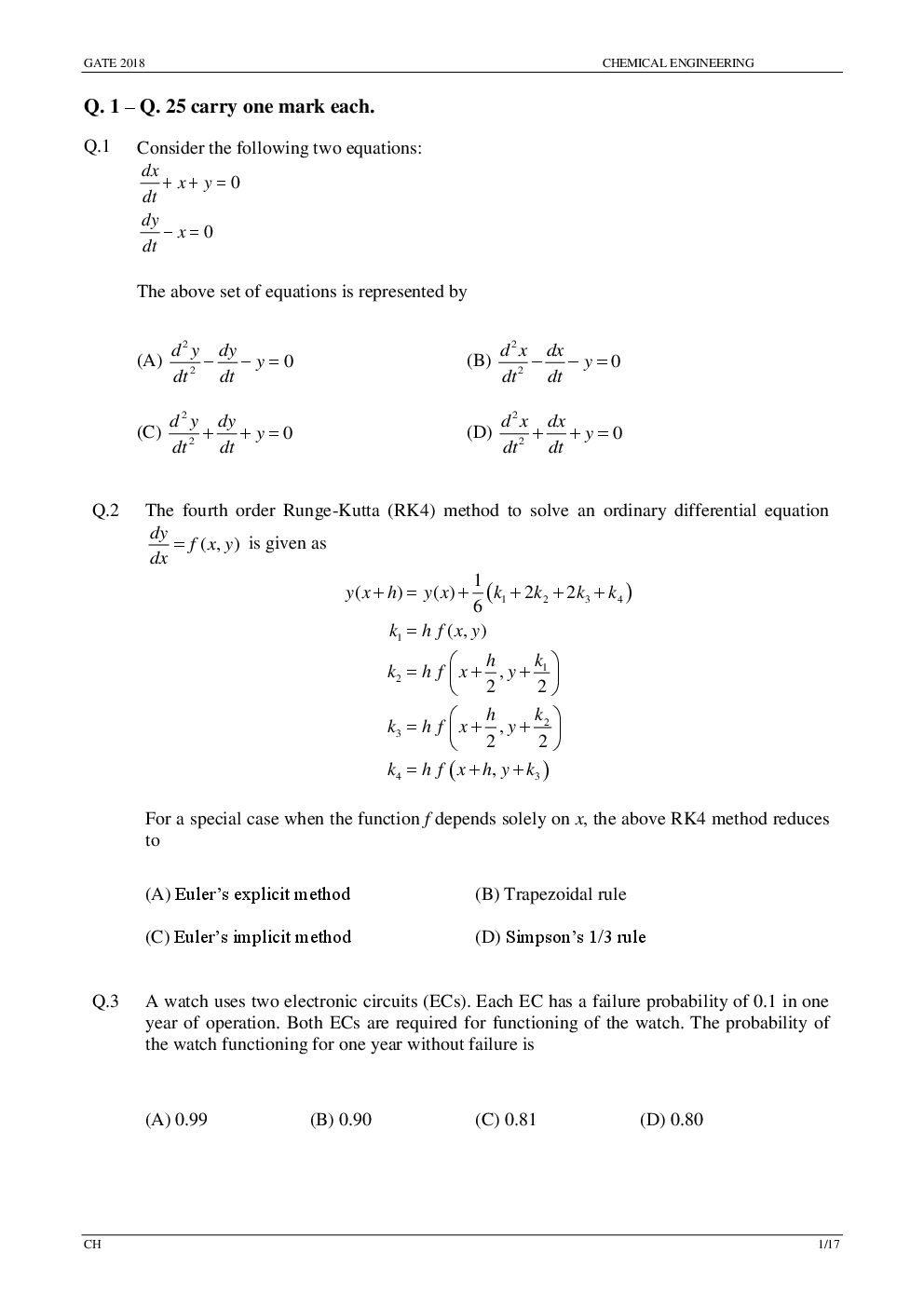Download GATE Previous Year Question Paper With Solution