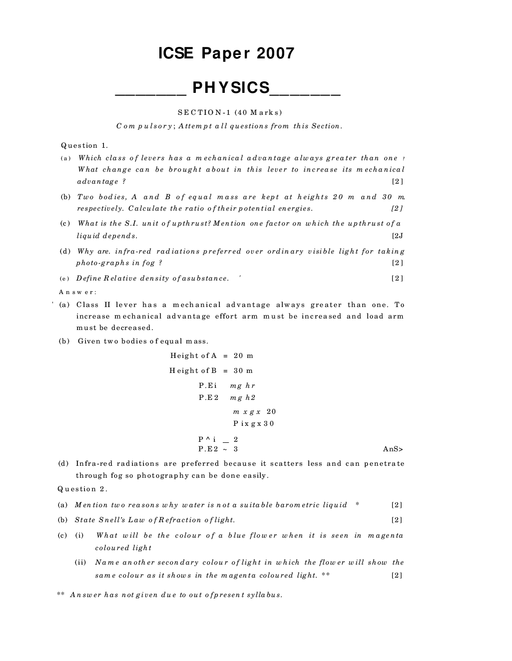 Download ICSE Previous Year Question Paper Physics (2007