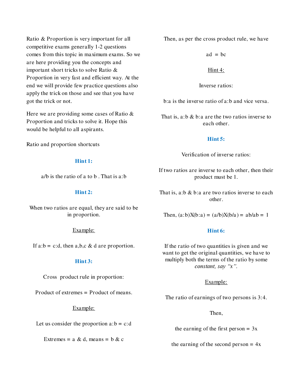 Download MCQs Quantitative Aptitude (Ratio Proportion