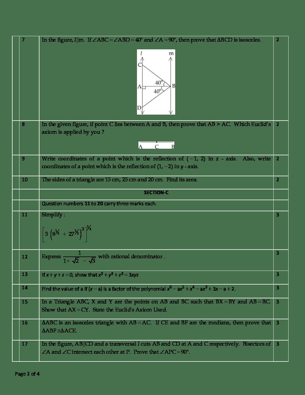 Download CBSE Mathematics Class IX Previous Year Question