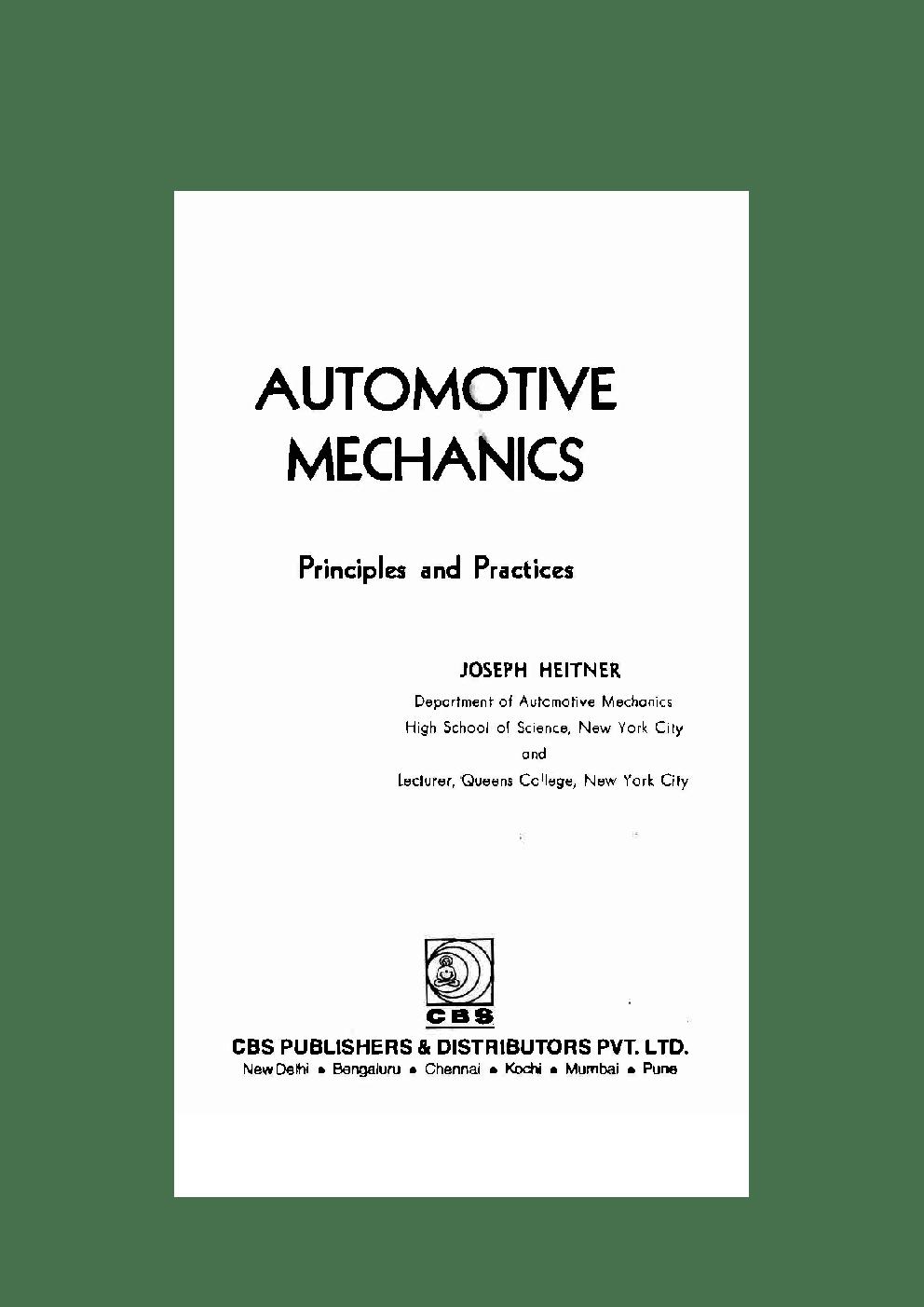 Download Automotive Mechanics by Joseph Heitner PDF Online